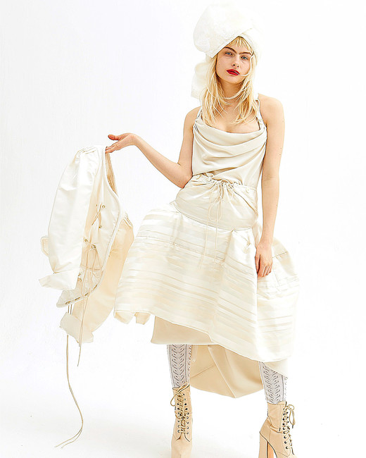 vivienne westwood spring 2019 a-line wedding dress with gathered skirt and scoop neck