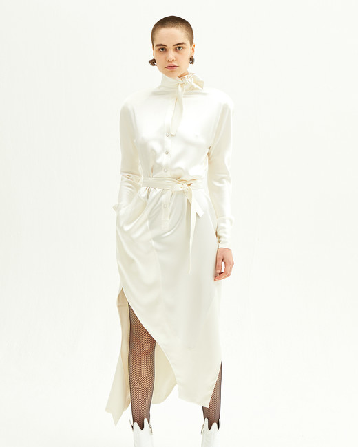 vivienne westwood spring 2019 sheath wedding dress with tie waist and asymmetrical hem