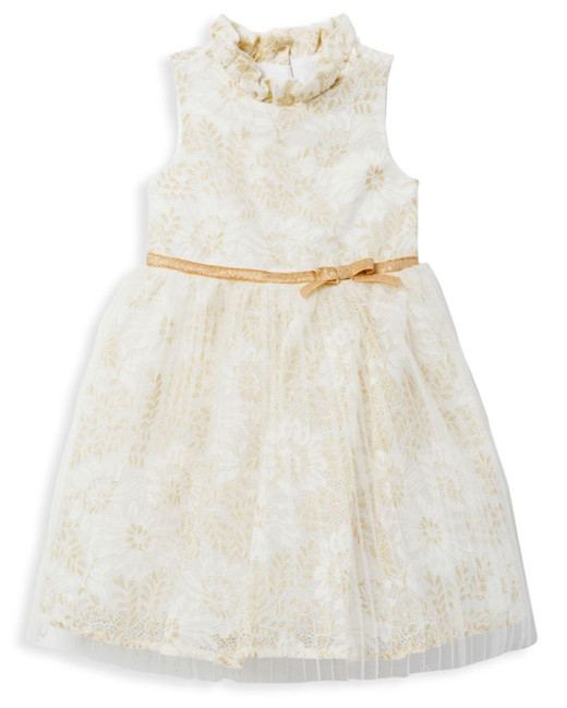 winter flower girl white and gold sleeveless dress with ruffled modneck