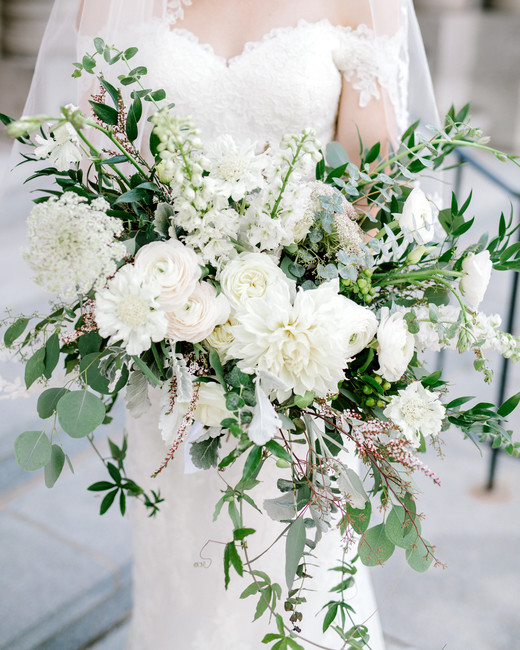 white floral and greenery large wedding bouquet