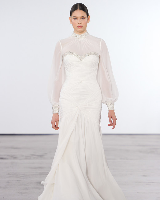 Dennis basso for kleinfeld fall 2018 wedding dress for Kleinfeld wedding dresses with sleeves