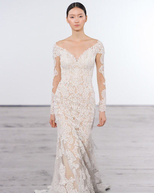 dennis basso wedding dress fall 2018 lace sheath v-neck
