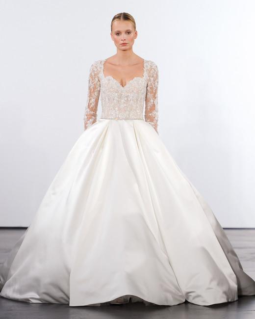 dennis basso wedding dress fall 2018 ballgown long sleeve