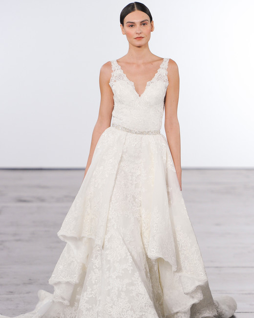 dennis basso lace layered wedding dress with straps fall 2018