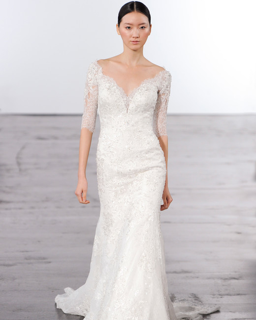 dennis basso three-quarter length sleeves lace wedding dress fall 2018