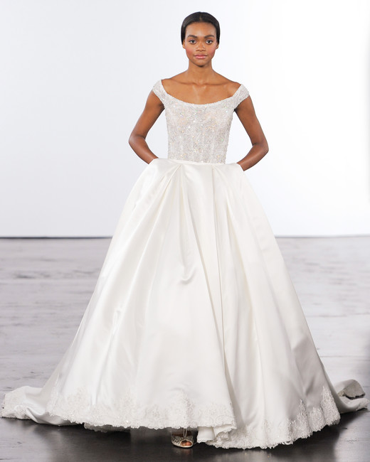 dennis basso beaded off-the-shoulder wedding dress fall 2018