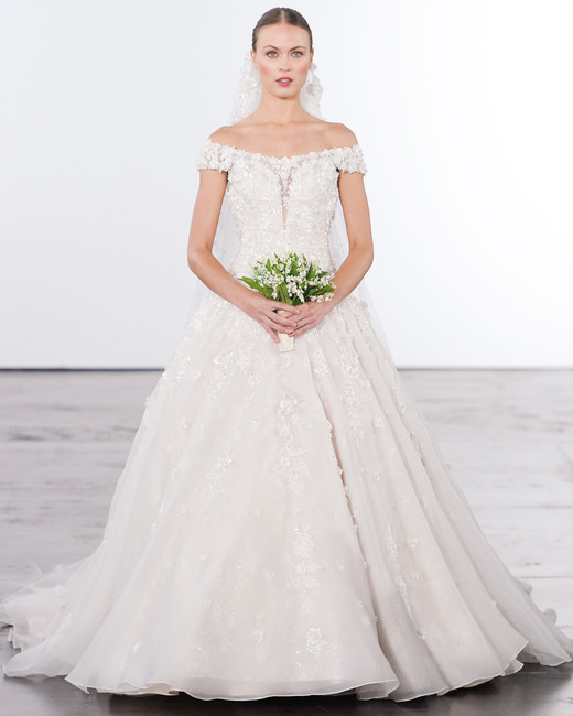 dennis basso off-the-shoulder a-line wedding dress fall 2018