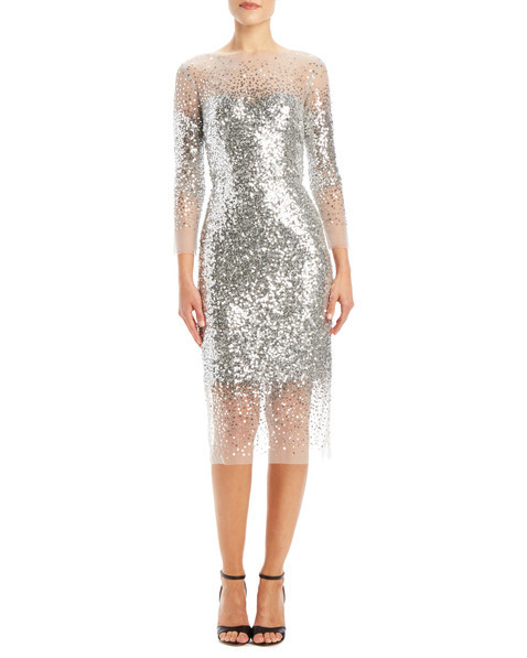 monique lhuillier embroidered cocktail dress