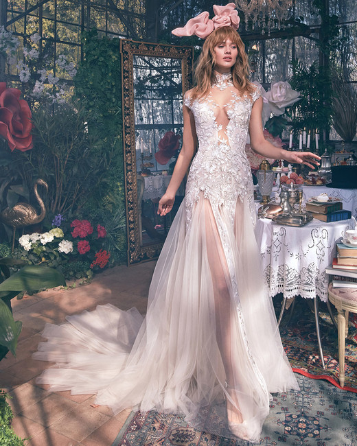 illusion high neck lace cap sleeves sheer tulle a-line wedding dress Gala by Galia Lahav Spring 2020