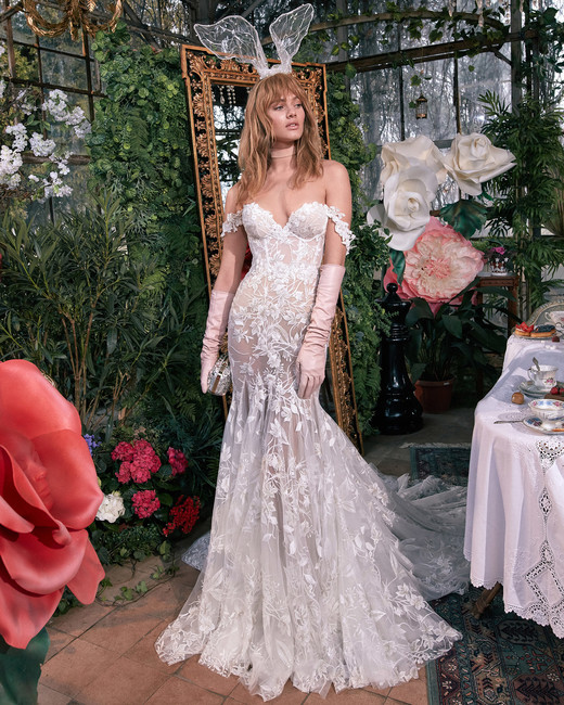 off-the-shoulder sweetheart exposed boning sheer lace trumpet wedding dress Gala by Galia Lahav Spring 2020