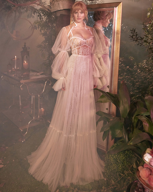 long puffed sleeves sweetheart exposed boning tulle a-line wedding dress Gala by Galia Lahav Spring 2020