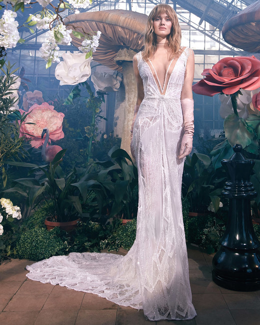 sleeveless plunging v-neck lace train a-line wedding dress Gala by Galia Lahav Spring 2020
