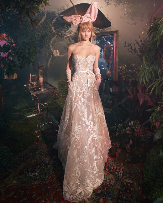 strapless sweetheart exposed boning lace a-line wedding dress Gala by Galia Lahav Spring 2020