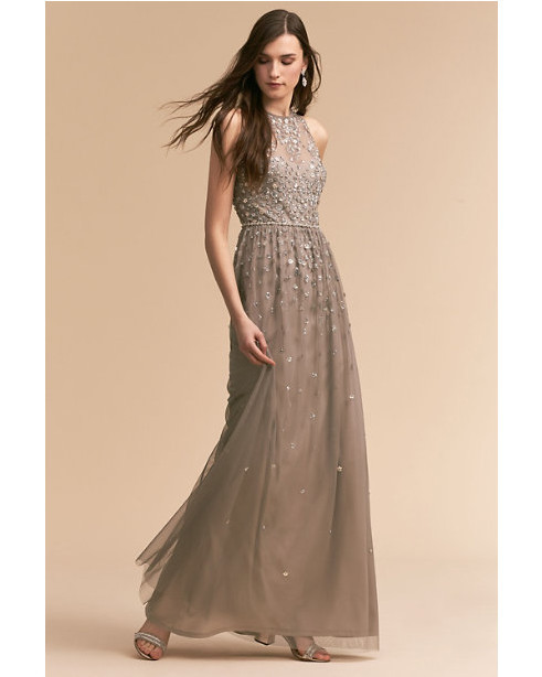 grey silver bridesmaid dresses bhldn ginny