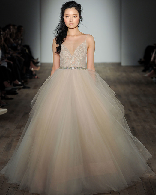 lazaro v-neck sheer a-line wedding dress spring 2018