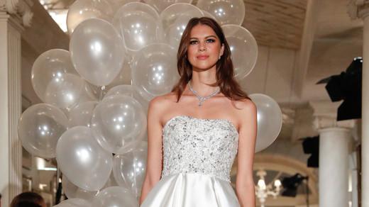oleg cassini wedding dress fall 2018 strapless a-line embellished