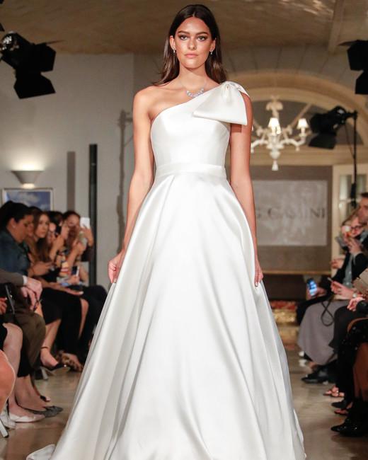 oleg cassini wedding dress fall 2018 one shoulder bow a-line