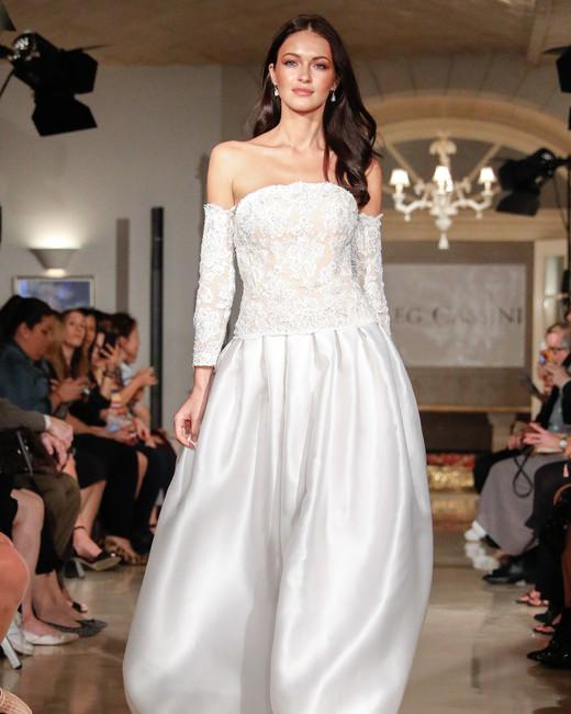 oleg cassini wedding dress fall 2018 off the shoulder long sleeve