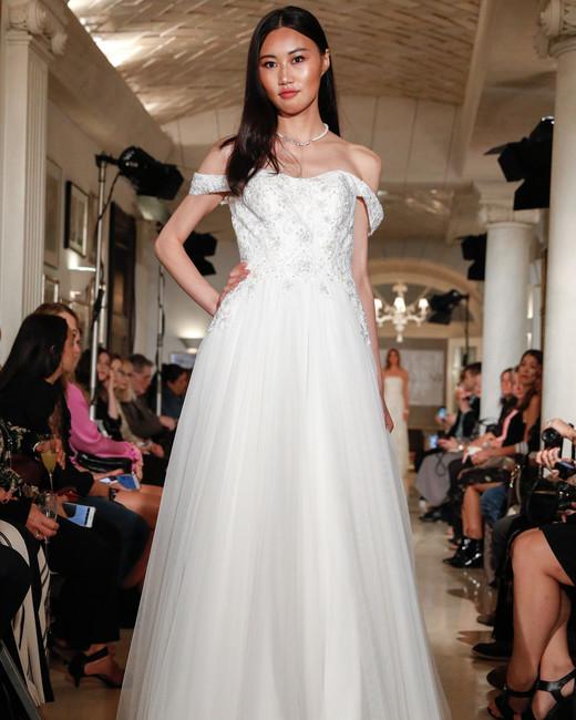 oleg cassini wedding dress fall 2018 off the shoulder tulle beaded