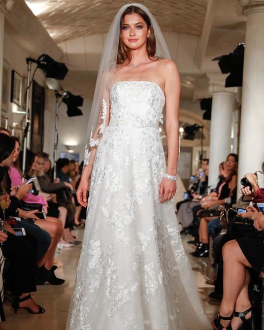 oleg cassini wedding dress fall 2018 lace a-line strapless veil