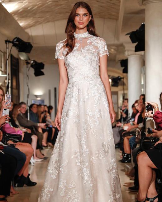 oleg cassini wedding dress fall 2018 short sleeves high neck lace