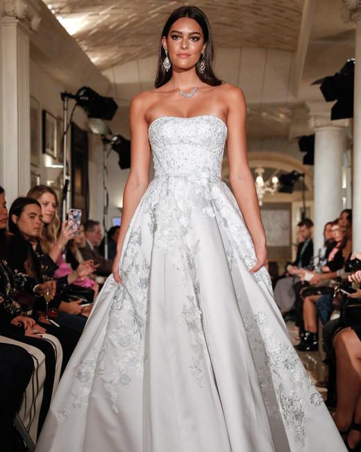 oleg cassini wedding dress fall 2018 strapless beaded embellished ball gown