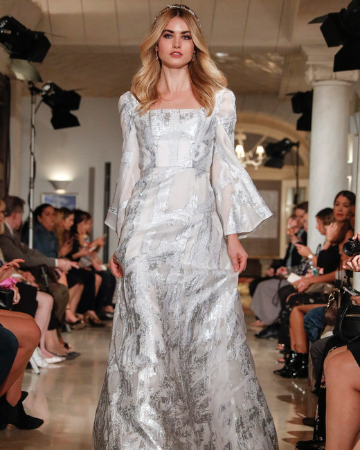 oleg cassini wedding dress fall 2018 long sleeves silver texture