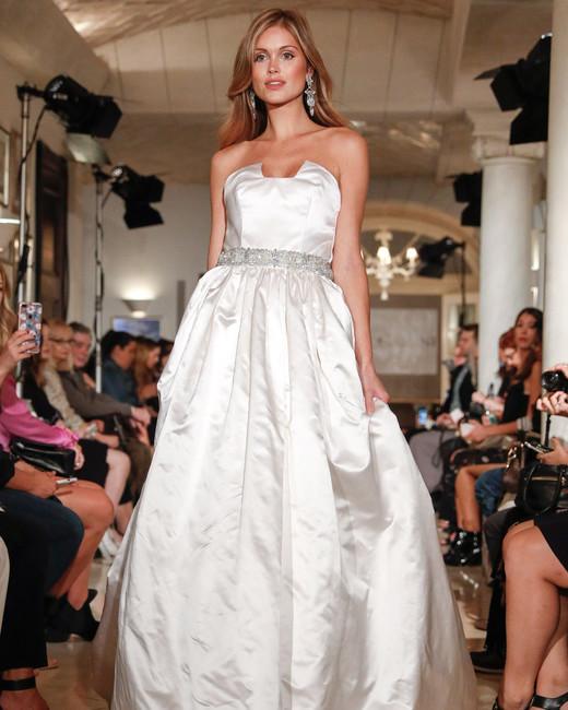 oleg cassini wedding dress fall 2018 strapless ball gown belt