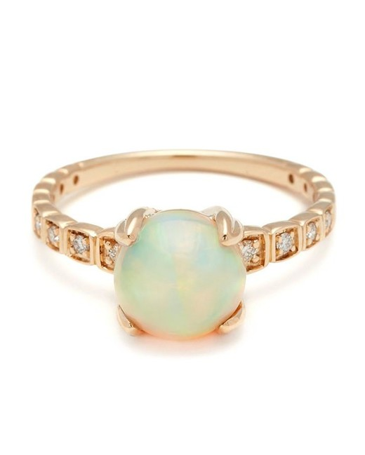 gold band with set diamonds opal engagement ring