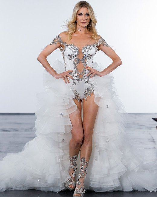 Pnina tornai fall 2018 wedding dress collection martha stewart pnina tornai fall 2018 embellished train wedding dress junglespirit Gallery