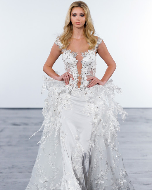 pnina tornai fall 2018 embellished gown sheer train wedding dress