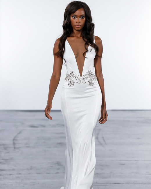 pnina tornai fall 2018 plunging v-neck wedding dress