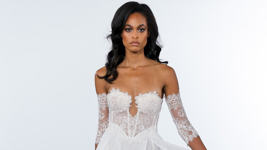 pnina tornai fall 2018 sheer overlay wedding dress