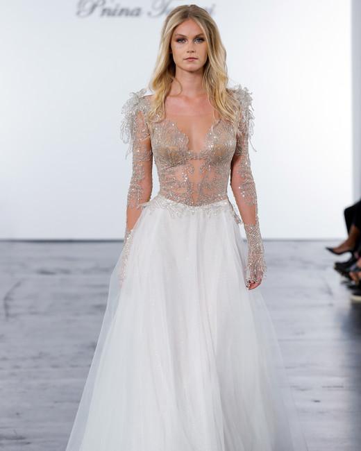 pnina tornai fall 2018 long sleeve a-line metallic detail wedding dress