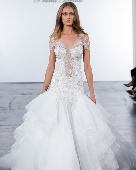 pnina tornai fall 2018 embellished top trumpet wedding dress