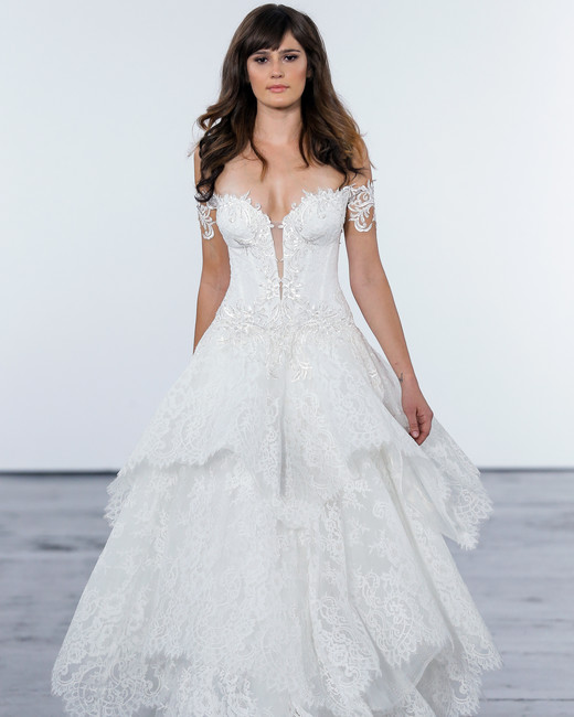 pnina tornai fall 2018 lace off the shoulder wedding dress