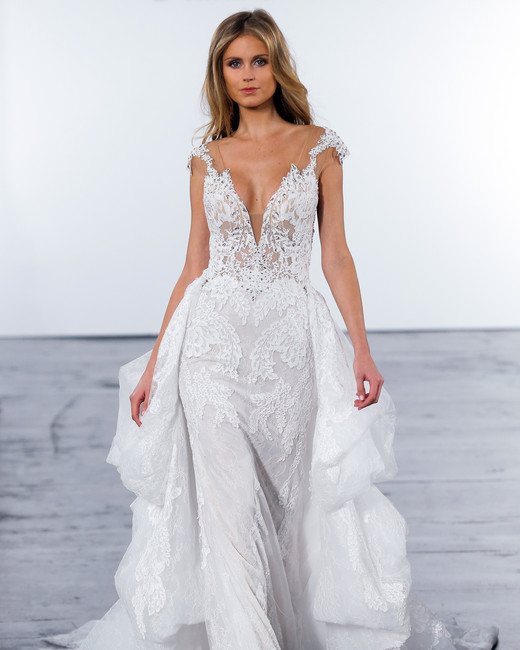 pnina tornai fall 2018 plunging v-neck long train wedding dress