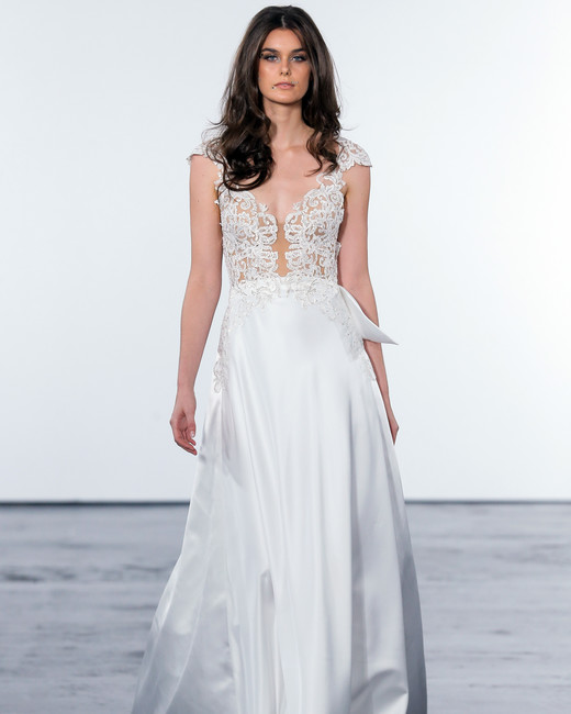 pnina tornai fall 2018 a-line lace bodice wedding ballgown