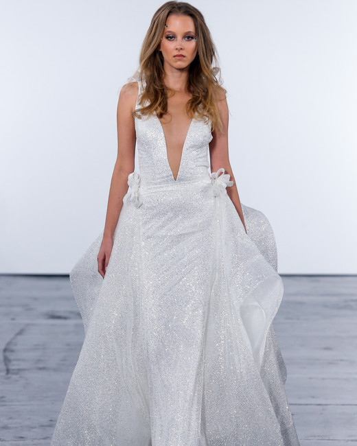 pnina tornai fall 2018 v-neck glitter wedding dress
