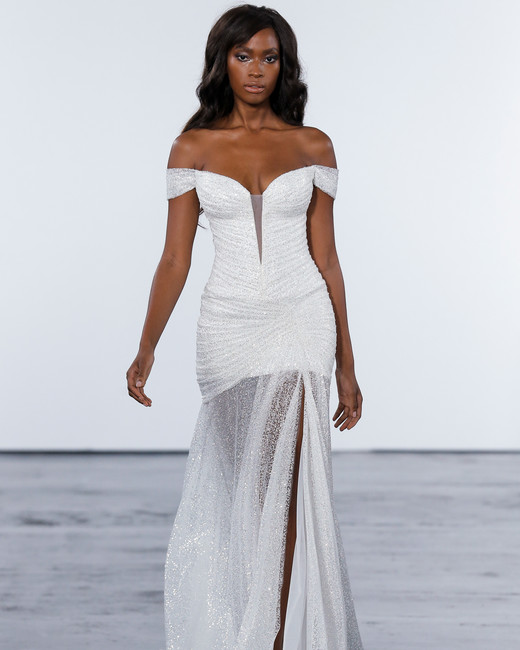 pnina tornai fall 2018 off shoulder glitter overlay wedding dress
