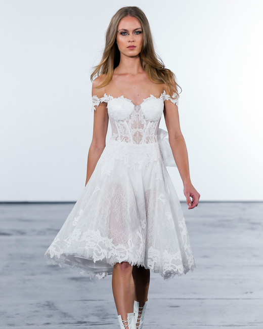 pnina tornai fall 2018 off shoulder lace short wedding dress