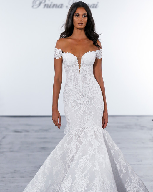 pnina tornai fall 2018 lace trumpet wedding dress