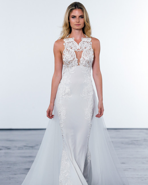 pnina tornai fall 2018 lace sheer overlay wedding dress