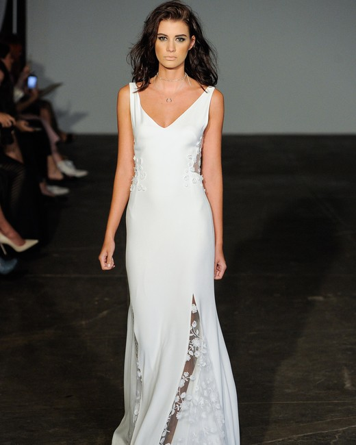 rime arodaky fall 2018 v neck sheath wedding dress