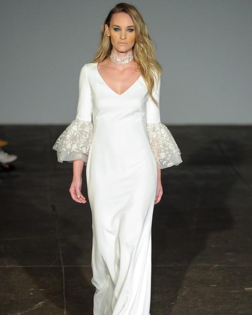 rime arodaky fall 2018 v-neck long flutter sleeve wedding dress