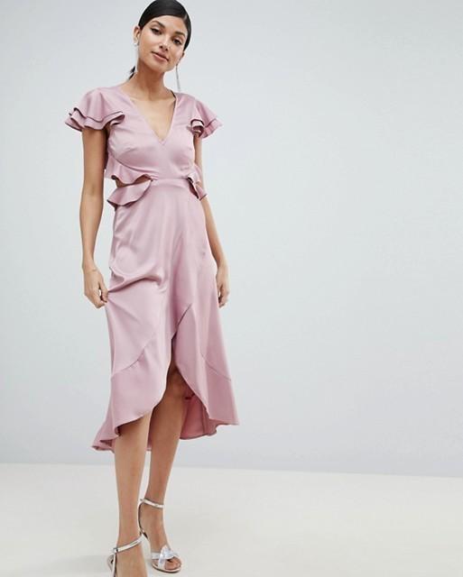 asos design ruffle blush dress