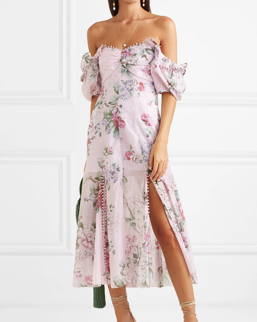 off the shoulder puffed sleeve baby pink floral midi dress