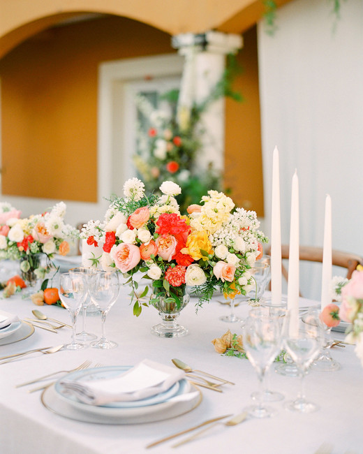 red orange yellow floral centerpiece