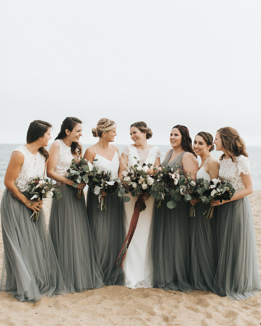 two piece bridesmaids emily delamater gray