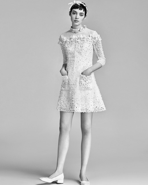 Short Viktor Rolf Wedding Dress With Three Quarter Sleeves Spring 2018